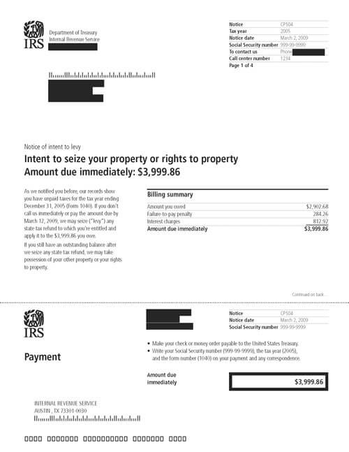 CP504 IRS Notice of Intent to Levy